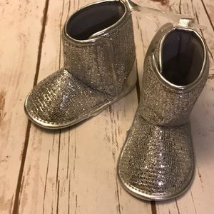 Baby Girl Little Me Brand Silver Boots