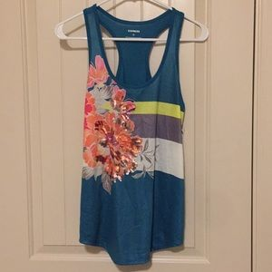 Express Teal and Floral Sequin Tank Top