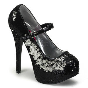 Holiday Sequins High Heel Shoes Black Silver