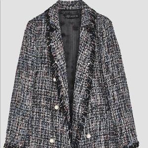 Zara Tweed Jacket with Pearl