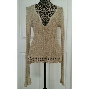 Free People Crochet Long Sleeves Top/sweater