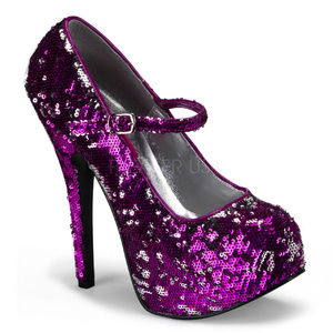 Holiday Sequins High Heel Shoes Purple Pink
