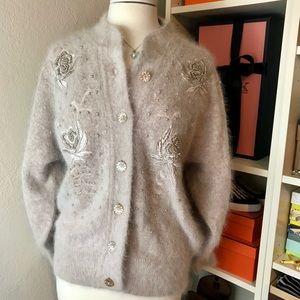 Vtg Angora Fuzzy Cardigan Sweater w/ pearls