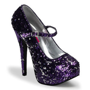 Holiday Sequin High Heel Shoes Purple Silver