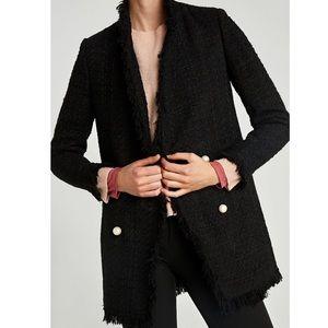 Zara Black Tweed Jacket with Pearl