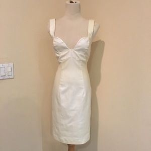 Elegant Black Halo shimmer cream cocktail dress