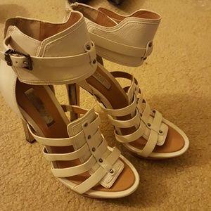 Bcbgmaxazria runway white leather heels