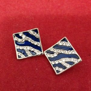 Blue and silver square earrings