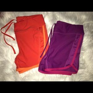 Spandex drawstring fitness shorts