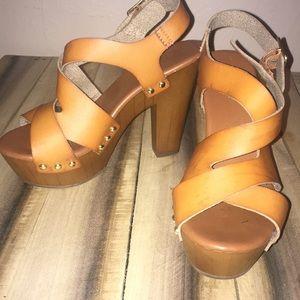 Tan wooden heeled platforms