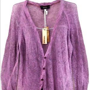 Diesel Purple Side Button Cardigan Sz S Ret $198