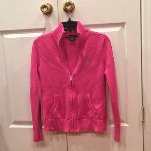 EUC Ralph Lauren zip cardigan pink color sizeM