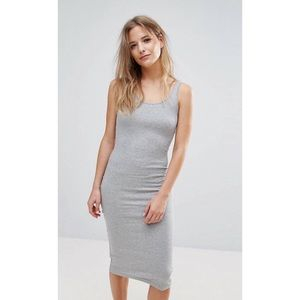 BRAVE SOUL  ||  Grey Ribbed Midi Tank Dress