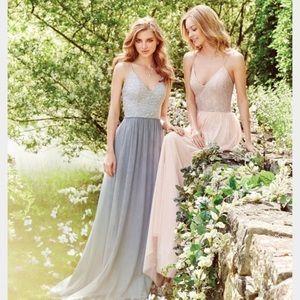 Hailey Paige Metallic lace gown blush