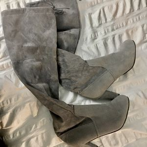 Grey faux Suede over the knee heeled boots
