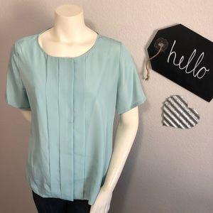 Pendleton blue short sleeve button up blouse