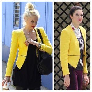 Zara Iconic Yellow Zipped Blazer LIKE NEW XS