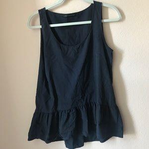 Zara navy tunic with ruffle hem
