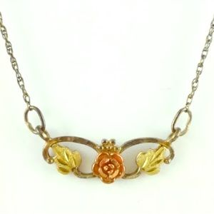 Yellow & Rose Gold Silver Floral Necklace