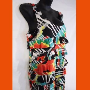 Womens Tango Mango Ruffle Dress XL Holiday Club