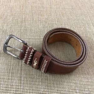 Brighton Belt Brown Leather L Silver-tone Buckle