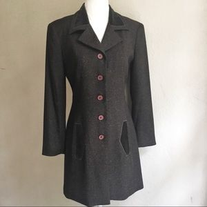 Nanette Lepore Tweed & Velvet Dress Coat