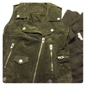 Blank NYC Suede Moto Vest Olive Size XS