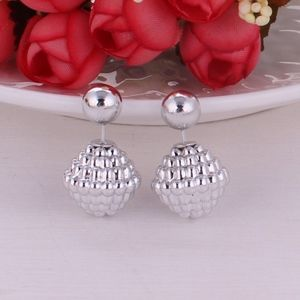 Jewelry - Metallic Silver Bubble Ball Double Sided Earrings