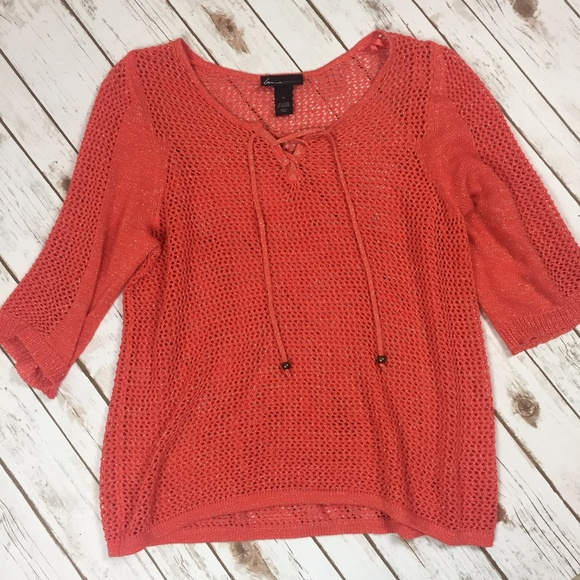 f744903c2d Lane Bryant Coral   Gold Threaded Fishnet Sweater