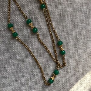Vintage Trifari Green & Gold Necklace