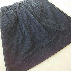 🆕Listing! J. Crew Navy Eyelet Skirt