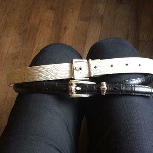 2 Belts Calvin Klein White Brighton Blk Leather XL