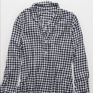 Aerie Navy and White Button-Down Flannel