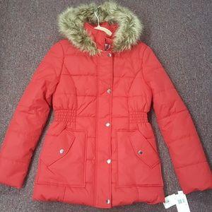 NWT Krush Red Puffer Coat faux fur hood