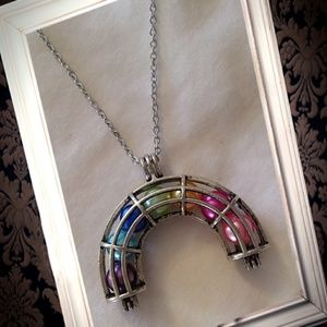 Jewelry - Silver rainbow cage essential oil necklace