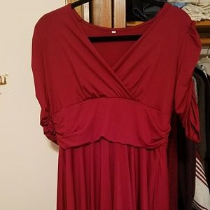 Empire waist wine red dress size xxl