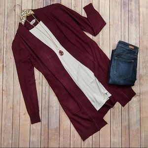 Sweaters - Flaunt Boutique Long Burgundy Sweater