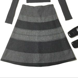 Pendleton Gray Striped Wool A Line Skirt