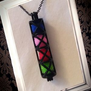 Jewelry - Black cylinder cage essential oil necklace