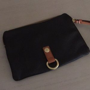 GAP black leather wristlet