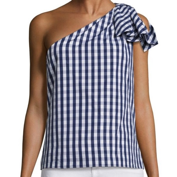 30b08e66439 Milly Tops   Nwt Cindy One Shoulder Gingham Bow Top Sz S   Poshmark