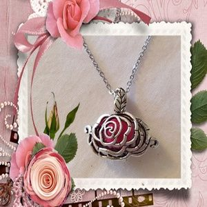 Jewelry - Silver flower cage essential oil necklace