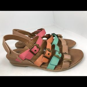 Sofft rainbow Slingback Flat Sandals 8.5M Leather