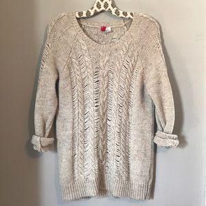 Women's long open knit sweater