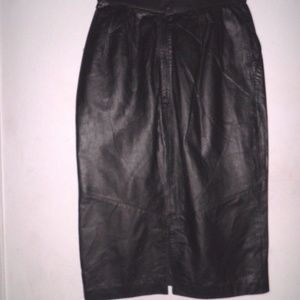 Pelle Cuir Skirts - NWT Pelle Cuir Black Long Pencil Leather Skirt