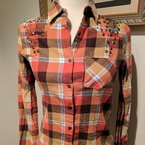 Wet seal womens small plaid western shirt