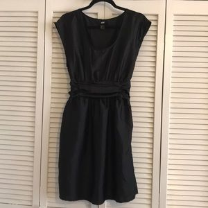 H&M black dress with belted tie