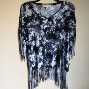 Michael Kors tye-dye fringe shirt