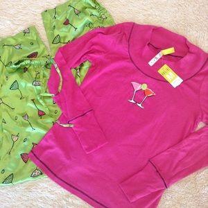 2pc Pajama set size M Martini glasses pink pjs NWT