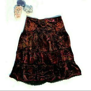 Red and purple paisley velvet boho tiered skirt